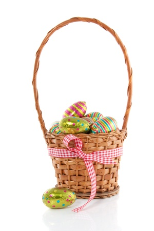 colorful easter eggs in a wicker basket with a checkered ribbon isolated over white
