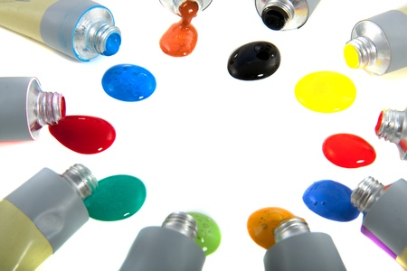 colorful paint tubes acrylic paint isolated on white