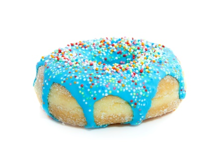 a blue glazed donut with colorful speckles on top