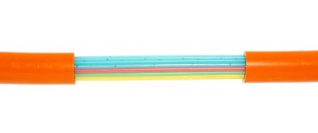 fiber optics: fiber optics ground cable isolated over white