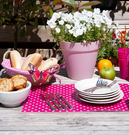 colorful lunch in the summer garden