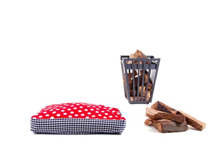a sitting cushion in front of a fireplace isolated white background Stock Photo - 13611931