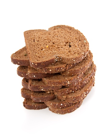 a stack of brown sandwiches isolated over white photo
