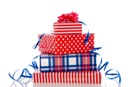 luxury red white and blue gifts isolated over white photo