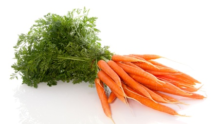 a bunch of healthy carrots isolated over white