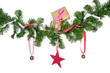christmas balls and gifts in a christmas tree branch isolated on white background Stock Photo - 15417219