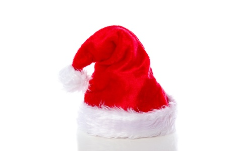 red white christmas hat isolated over white