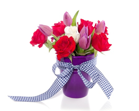 purple red bouquet with tulips and roses isolated over white photo