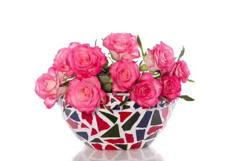 bouquet pink roses in a mozaik flower pot isolated on white background Stock Photo