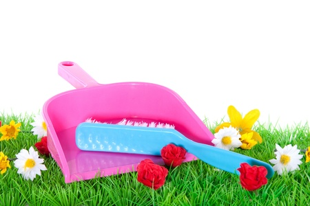 a dustpan and a brush on a flowery green lawn isolated over white Stock Photo