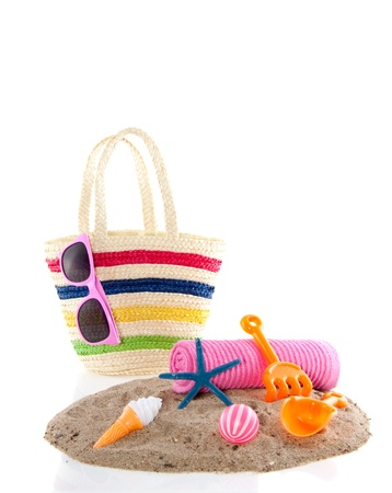 beach toys and stuff isolated over white