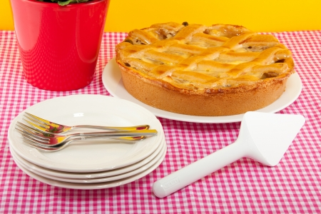 an apple pie on a pink white checkered tablecloth with service and forks Stock Photo