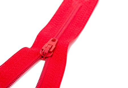a close up of a red zipper isolated over white Stock Photo - 18867665