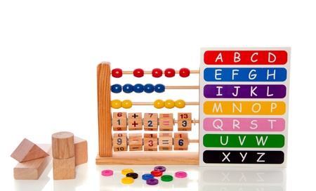 educational alphabet toys and blocks isolated over white photo