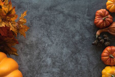 Thanksgiving background with pumpkins, leaves and nuts on a grey cement background.