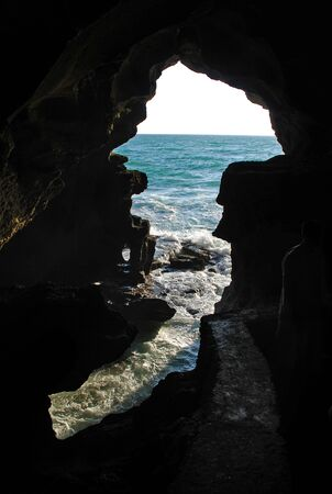 Sea cavern with crashing waves on the Moroccan coast
