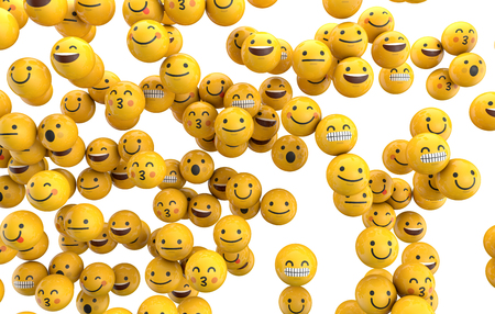Emoji emoticon character background collection. 3D Rendering Stok Fotoğraf - 84154536