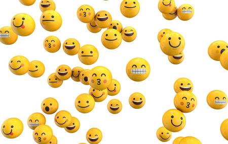 Emoji emoticon karakter achtergrond-collectie. 3D-weergave