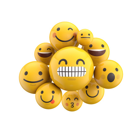 Emoji emoticon character background collection. 3D Rendering