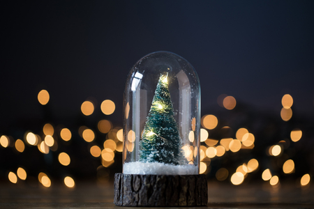 Festive Christmas tree inside a glass snowglobe with blurred lights Zdjęcie Seryjne