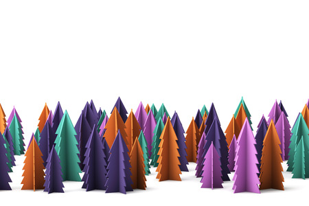 Colourful festive winter christmas trees background. 3D Rendering