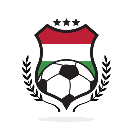 Hungary national flag football crest, a logo type illustration