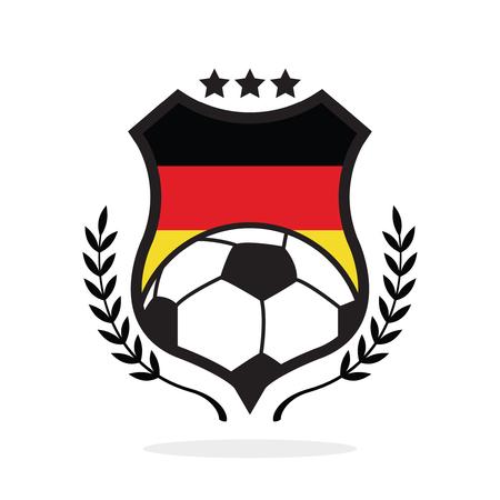 Stemma di calcio della bandiera nazionale della Germania, un'illustrazione di tipo di logo Archivio Fotografico - 90254468