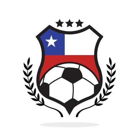 Chile national flag football crest, a logo type illustration