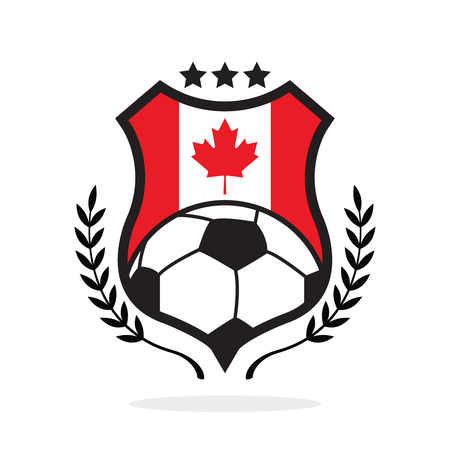 The Canada national flag football crest, a logo type Illustration