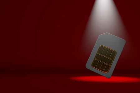 Sim card in a spotlight. 3D Rendering