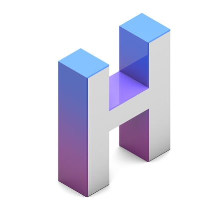 Letter AH Isometric lettering font with pink blue gradient