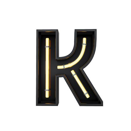 Neon style light letter K. Glowing neon Capital letter. 3D rendering