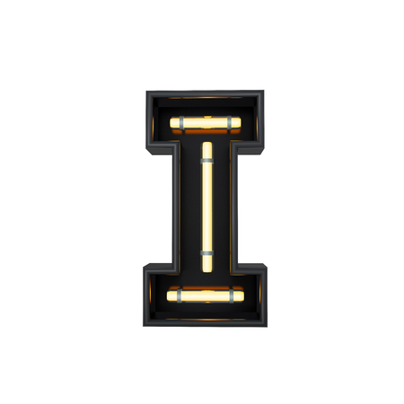Neon style light letter I. Glowing neon Capital letter. 3D rendering