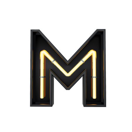 Neon style light letter M. Glowing neon Capital letter. 3D rendering
