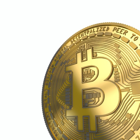 Bitcoin cryptocurrency coin. 3D Rendering