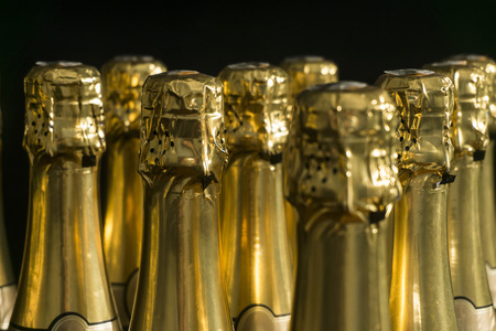 Collection of champagne or prosecco bottles Stock Photo
