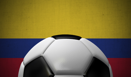 Soccer football against a Colombia flag background. 3D Rendering