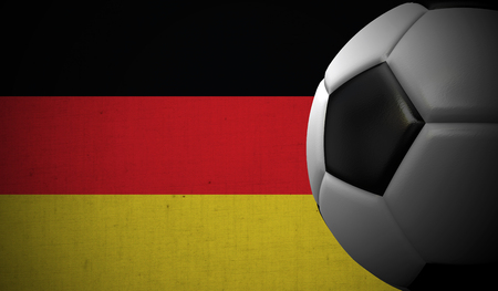 Soccer football against a Germany flag background. 3D Rendering