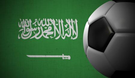 Soccer football against a Saudi Arabia flag background. 3D Rendering