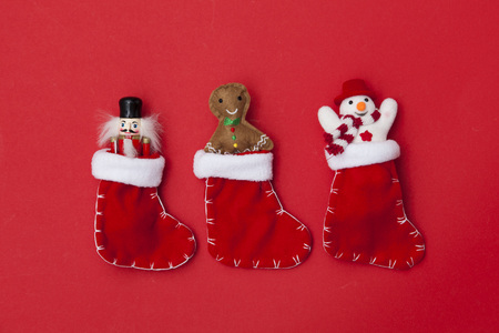 Christmas stockings with festive toys
