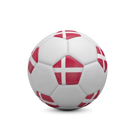 Soccer football with Denmark flag. 3D Rendering