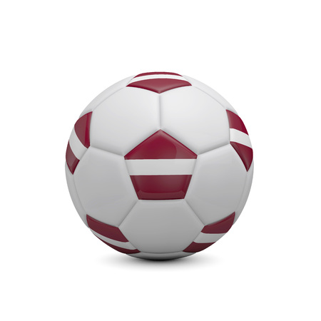Soccer football with Latvia flag. 3D Rendering
