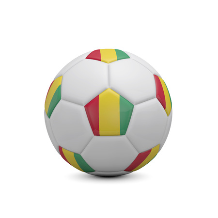 Soccer football with Guinea flag. 3D Rendering Stock Photo