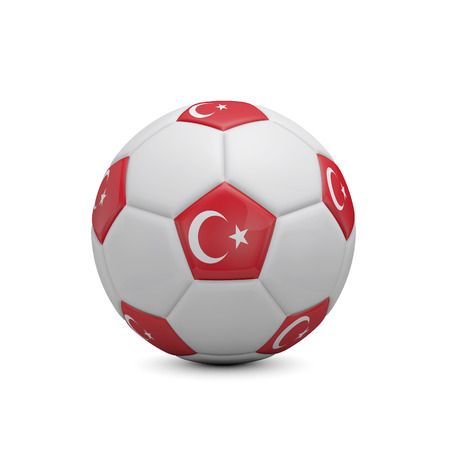Soccer football with Turkey flag. 3D Rendering