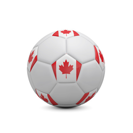 Soccer football with Canada flag. 3D Rendering
