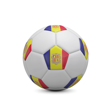 Soccer football with Andorra flag. 3D Rendering Stock Photo