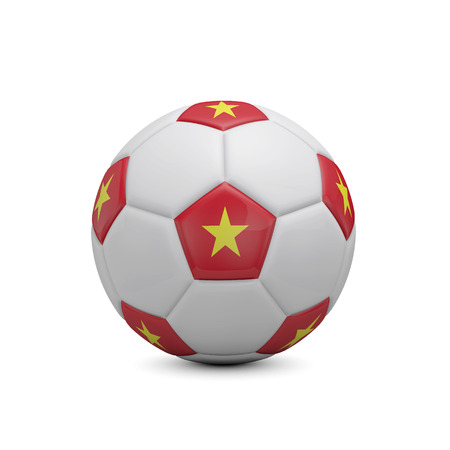 Soccer football with Vietnam flag. 3D Rendering Stock Photo