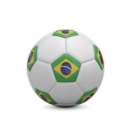 Soccer football with Brazil flag. 3D Rendering