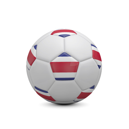 Soccer football with Costa Rica flag. 3D Rendering Stock Photo