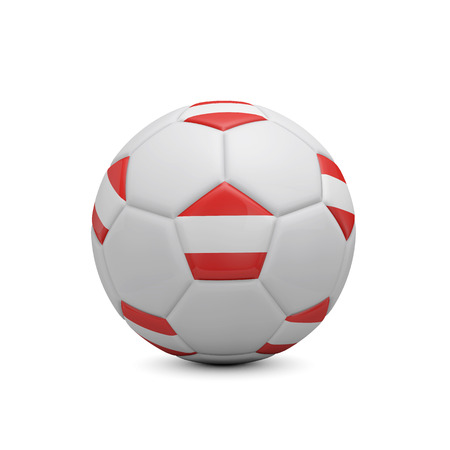 Soccer football with Austria flag. 3D Rendering Stock Photo